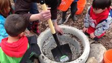 Making a fire pit.