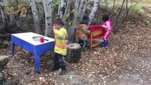 Cooking up ghost snacks in the mud kitchen